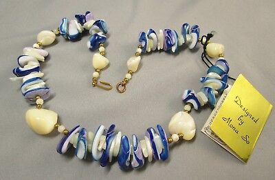 """NOS Vintage Designed By Mona So Mother of Pearl Shell 16"""" Necklace #877"""