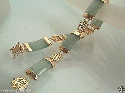 Pretty Lady's Green Jade 18K White Gold Plated Fortune Clasp Bracelet Bangle