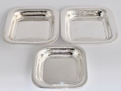 546g Set of 3 Vintage German 800 Silver Hammered Square Dishes by OTTO WOLTER