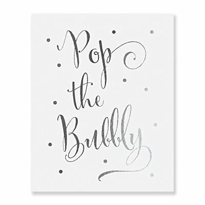 Pop the Bubbly Silver Foil Print Bar Cart Sign Wedding Champagne Reception Dec..
