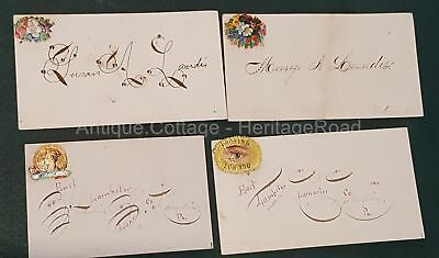 LOT 1880 antique 4pc Victorian Calling Cards lancaster pa LANDIS penmanship orig