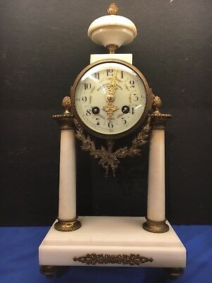 JAPY FRERES Mid-19th C. Gilt Bronze Marble Clock  FRENCH EMPIRE 1800's antique