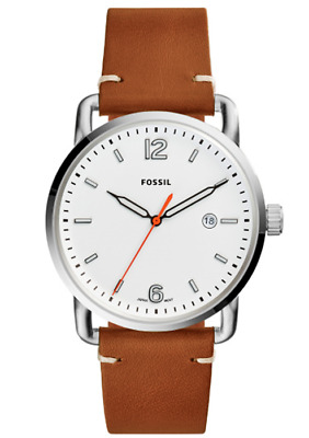 354236952a24 NWT Fossil Men s The Commuter Three-Hand Date Light Brown Leather Watch  FS5395