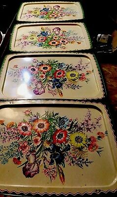 Lovely Mid Century Vintage Set Of 4 LaVada TV Tables /Wildflowers W/ Green Trim