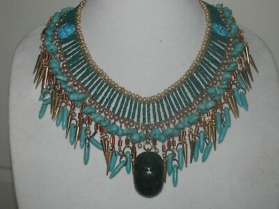 Egyptian Revival with Faience Scarabs Necklace, NWT