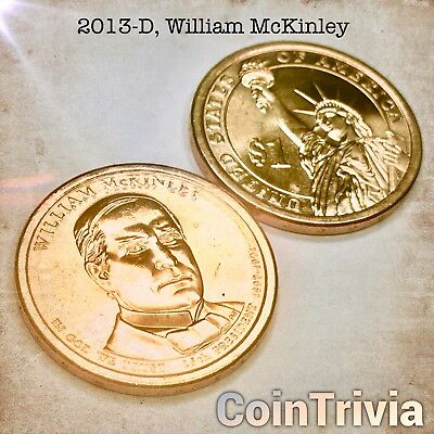 2012 D William McKinley Uncirculated US Presidential Golden Dollar Coin