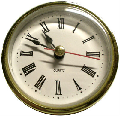 "Quartz 2-1/2""  Dia.Insert Clock Fit-Up Mechanism Roman Numbers Fits 2-3/8"" hole"