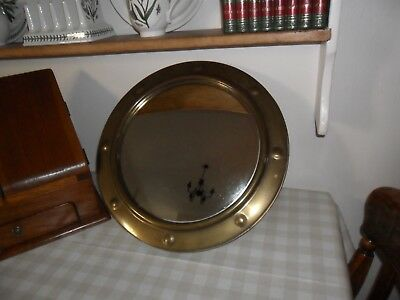 Vintage Brass Convex Ships Mirror With Wooden Back And Chain.