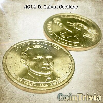 2014 D Calvin Coolidge Uncirculated US Presidential Golden Dollar Coin