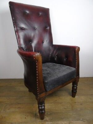 William IV High Back Red Leather Arm Chair Antique Old