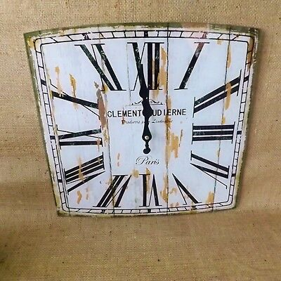 Shabby Chic French Vintage White Square Glass Wall Clock Paris Roman Numerals