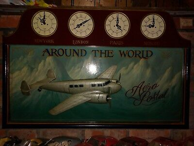 Vintage Large Aeroplane Clock Stunning Huge 98 cm Wall Wide Art Deco 1930's 40s
