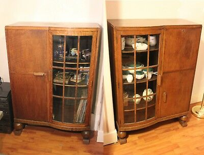 Pair of Edwardian Oak Bookcase Cabinets