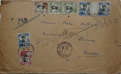 Indochina 1923 Cover To Switzerland With 7 Stamps Including Gutter Pair Soctrang