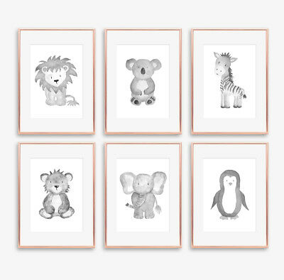 Neutral Grey Safari Animal Baby Nursery Prints Set Childrens Bedroom Decoration