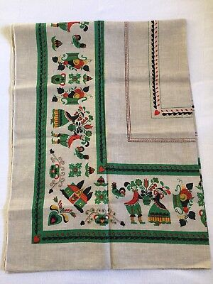 "Vintage Tablecloth 70""x50"" Linen Beige Red Black Green Retro Mid Century Cottage"