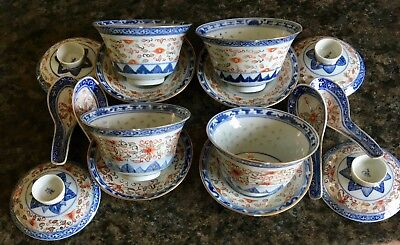 Antique Chinese Rice pattern porcelain soup bowl, lid, base and spoon x4
