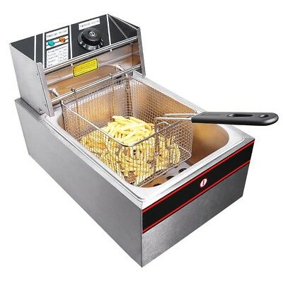 6L Commercial Electric Deep Fryer Frying Single Basket Chip Cooker Fry Kitchen