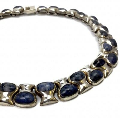 MEXICO PINEDA TAXCO VINTAGE SILBER COLLIER SODALITH 60er JAHRE