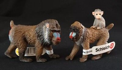 NEW! Schleich Mandrill Family Male, Female with Baby Retired! 14715 - 14716