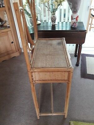 Cane retro Boho Bamboo wooden dressing table with large mirror & drawer