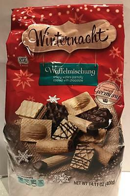 Winternacht Waffelmischung, Crispy Wafers Partially Coated with Chocolate 14 oz