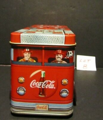 COCA COLA Coke Red Fire Truck Tin Box with Piggy Bank Top and Rolling Wheels