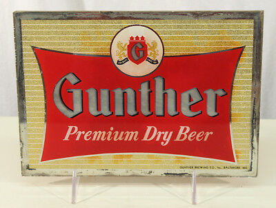 GUNTHER PREMIUM 1950's ROG REVERSE PAINTED GLASS BEER SIGN BALTIMORE MARYLAND MD