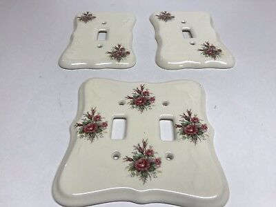 Vintage Athena Porcelain Double Light Switch Plate Cover & 2 Single Switch Cover