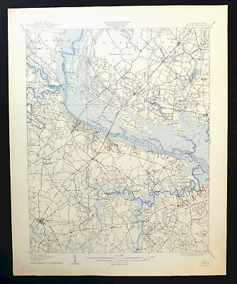 Winton North Carolina Vintage USGS Topo Map 1908 Ahoskie Tarheel Topological