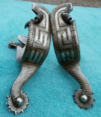 Vintage Old Iron Sterling Silver Inlay marked JR Cowboy Spurs