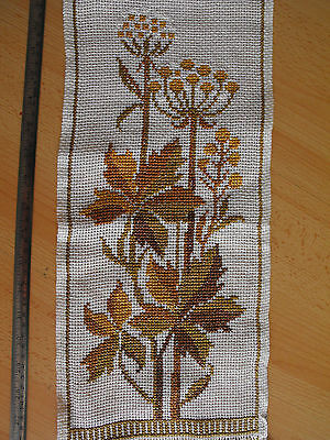 vintage cross-stitch hand-embroidered tapestry flowers of chestnut in white
