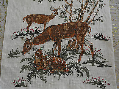 vintage Swedish cross-stitch hand-embroidered tapestry Deers Family