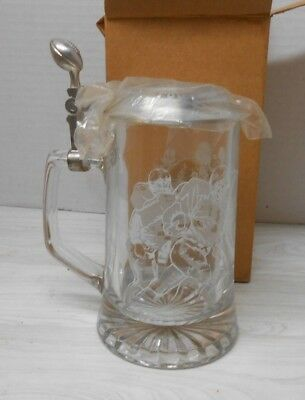 NEW 1998 Avon NFL Classic Glass Tankard with Pewter Lid, Beer Stein/Mug