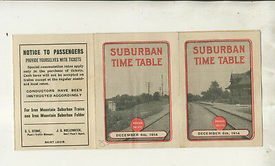 1914 Pocket Size Missouri Pacific Railway Suburban Time Table