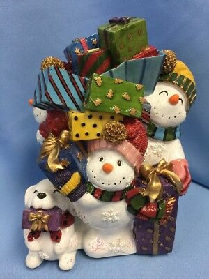 "NOS Fitz & Floyd Musical ""Frosty Friends"" Snowman Family, Plays ""Toyland"" 7.5"""