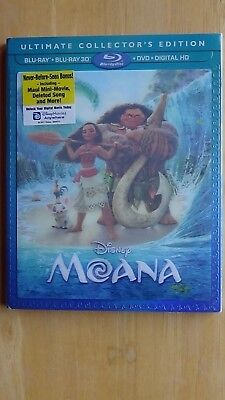 Disney MOANA Blu-Ray + Blu-Ray 3D + DVD + Digital HD with Sleeve NEW Sealed