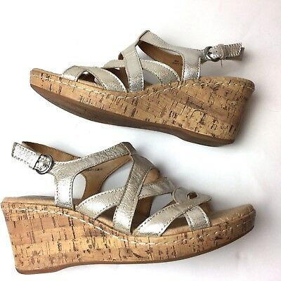 5534511b33fa BOC Born Concept Womens Wedge Sandals Cork Heel Gold Leather Strappy 9 M