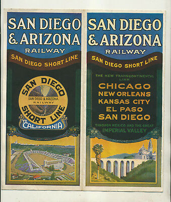 1924 San Diego Arizona  Short Line Timetable & Informational Promo Booklet