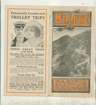 Undated Timetable & Promotional Foldout Mt Lowe Pacific Electric Railway