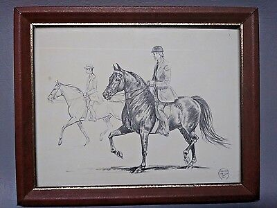 """Rare Jeanne Mellin 60's English Horse Drawing Print framed 10"""" x 8"""""""