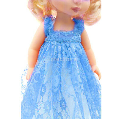 Handmade Peony Lace Dress for 40cm 16-inch Salon Dolls Accessory Blue