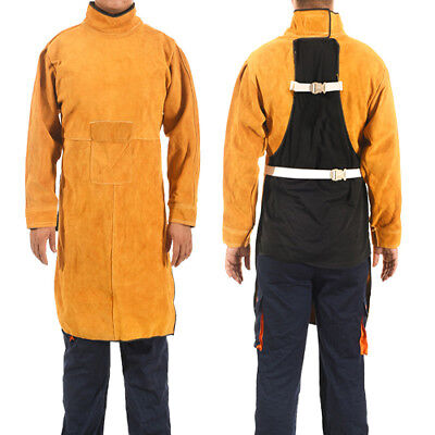 NEW 2018 Welding Long Coat Apron Durable Leather Long Sleeved Welder Protective