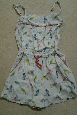 Mini Boden Girls Birds Mint Green & Multi Colour Strappy Playsuit Age 6-7