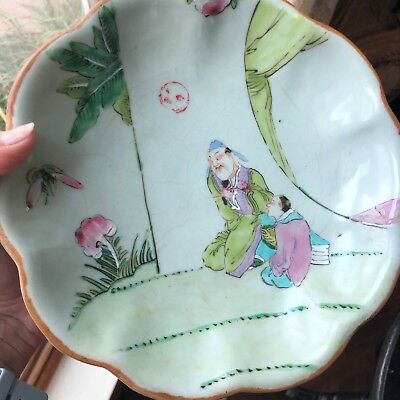 Antique Chinese Porcelain Celadon Footed Dish Painted Figures Mark Signed