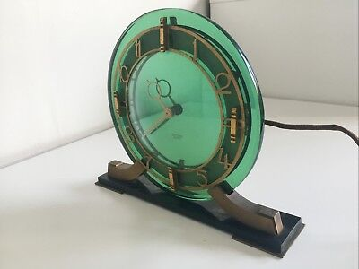 *RARE* English Art Deco Green Mirror Clock by Smiths Clock Company