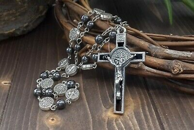 Catholic Saint Benedict Hematite Beads Rosary Necklace Benito Medal & Cross