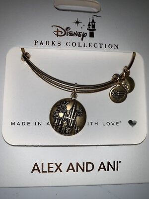 NEW Disney Parks ALEX AND ANI Cinderella Castle Fireworks Gold Bangle Bracelet