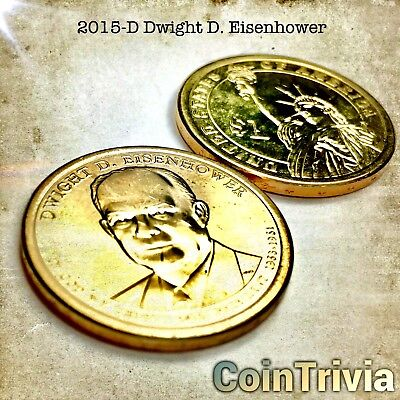 2015 D Dwight D Eisenhower Uncirculated US Presidential Golden Dollar Coin