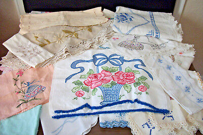 Vtg Embroidery Linens 50+ Pcs. Cloths Runners Towels Sets Cutter Lot with Damage